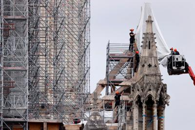 FILE PHOTO: Works on Notre Dame Cathedral in Paris