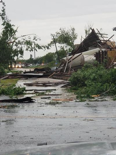 Debris seen in the aftermath of a tornado in Franklin, Texas