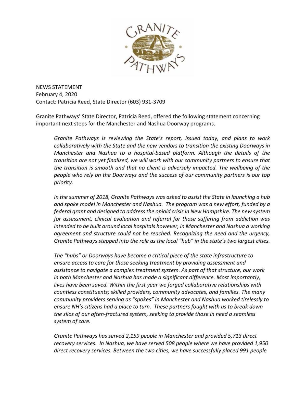 Granite Pathways statement