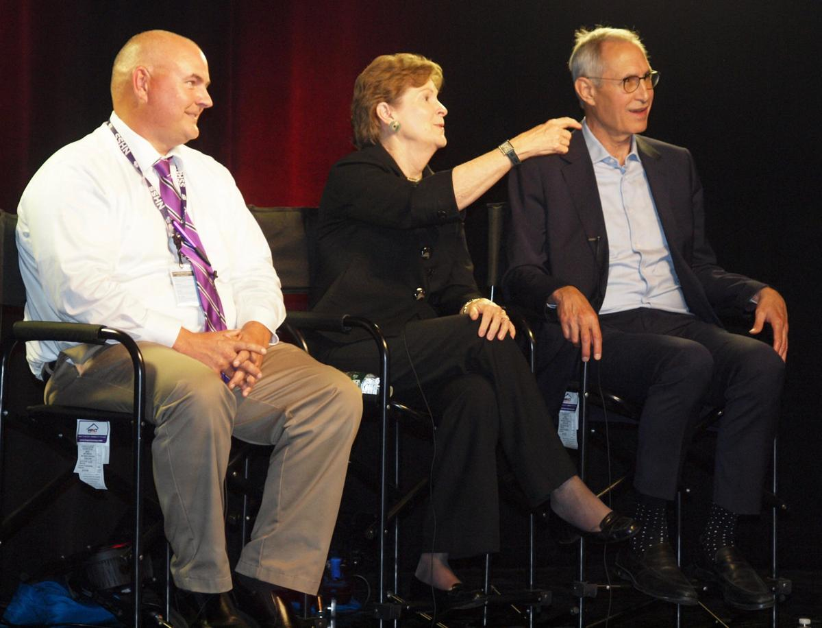 Principal Keith Richard, Sen. Jeanne Shaheen and Nashua Mayor Jim Donchess