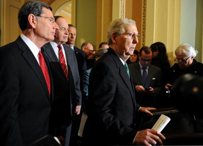 Senate Majority Leader Mitch McConnell R-KY, speaks to the media at the U.S. Capitol after a tentative deal is set to avert a second partial government shutdown