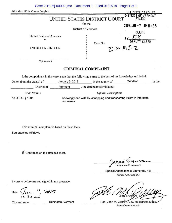 Affidavit details abduction