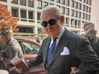 FILE PHOTO: Former Trump campaign aide Roger Stone departs U.S. District Court after being found guilty in Washington