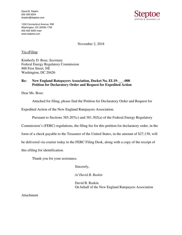 NERA Petition for Declaratory Order Regarding SB 365