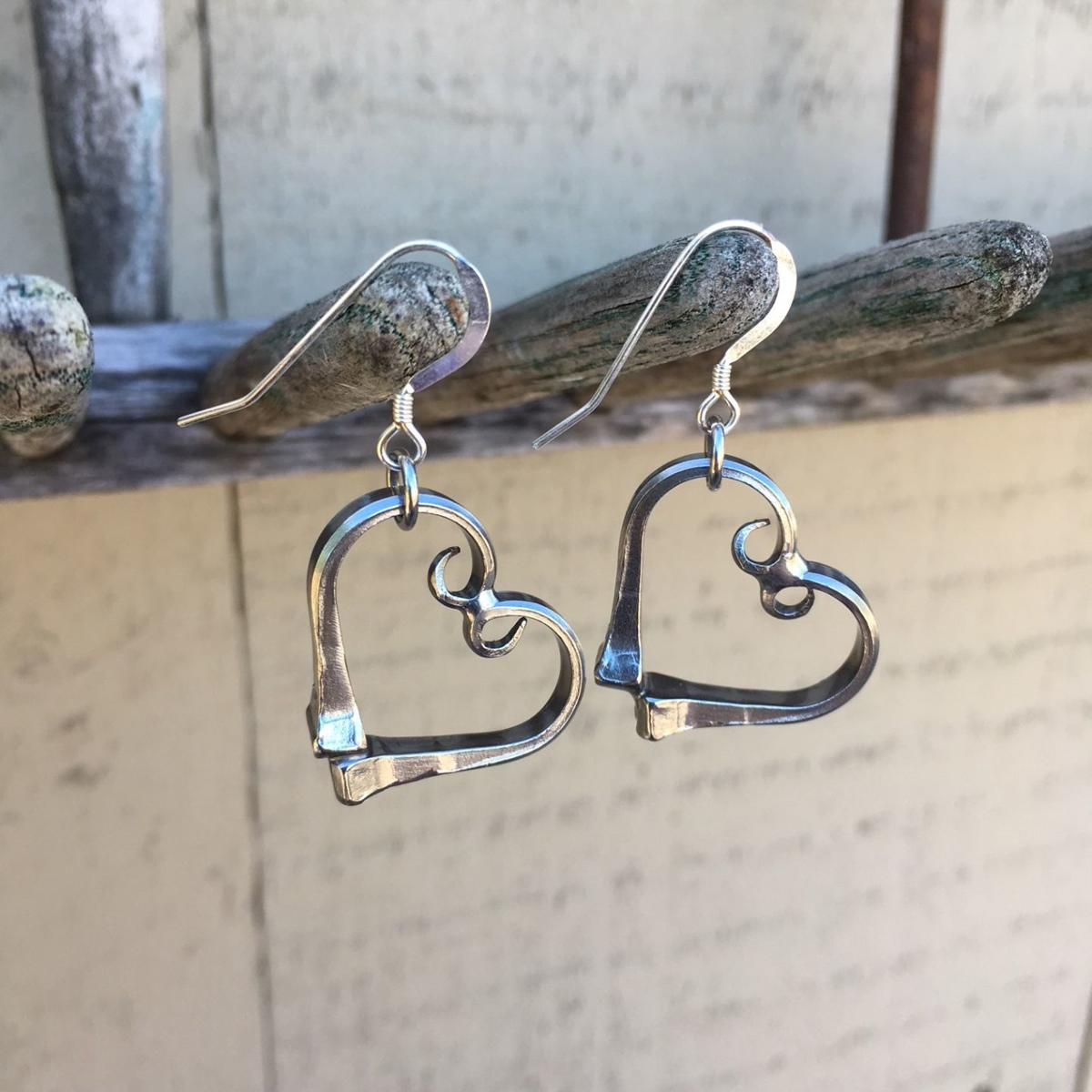 The Bent Nail heart earrings
