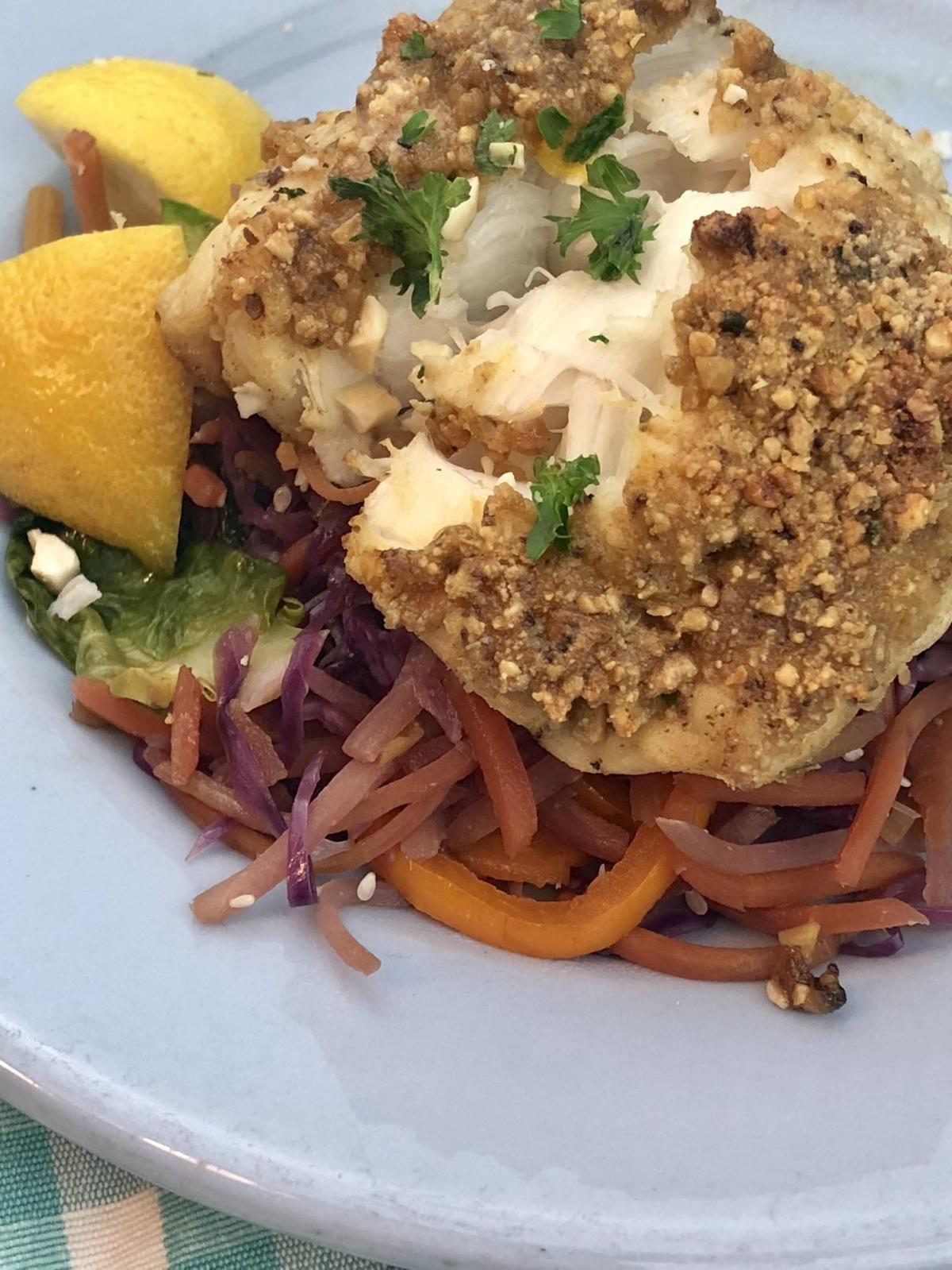 Seared monkfish with carrot slaw saute