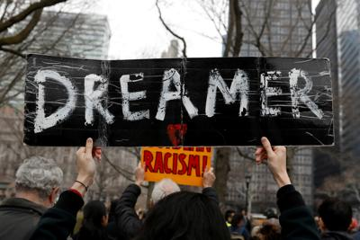 Activists and DACA recipients march up Broadway during the start of their 'Walk to Stay Home,' a five-day 250-mile walk from New York to Washington D.C., to demand that Congress pass a Clean Dream Act, in Manhattan, New York
