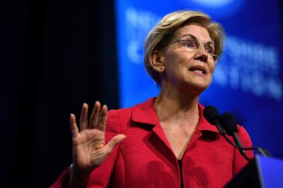 Democratic 2020 U.S. presidential candidate and U.S. Senator Elizabeth Warren (D-MA) speaks at the New Hampshire Democratic Party state convention in Manchester