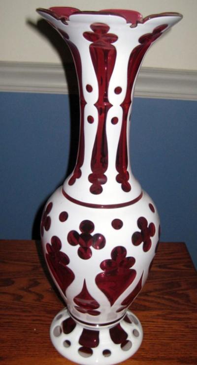 Cut overlay vase has superb craftsmanship