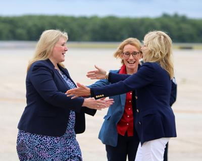 First lady Jill Biden arrives at Portsmouth International Airport