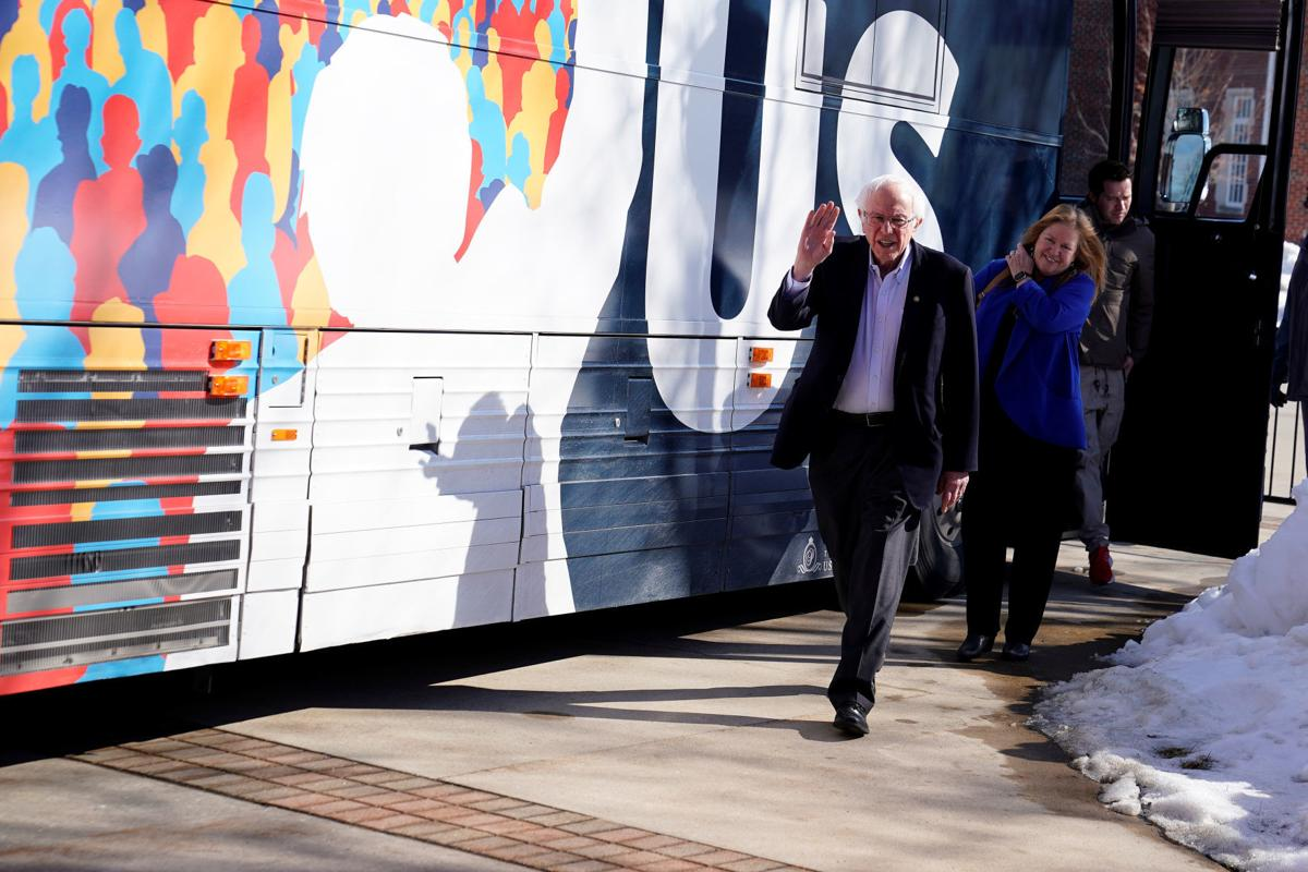 U.S. Democratic presidential candidate Sanders speaks during a rally at Simpson College in Indianola