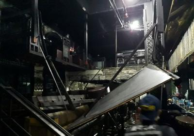 The collapsed structure of a nightclub in Gwangju