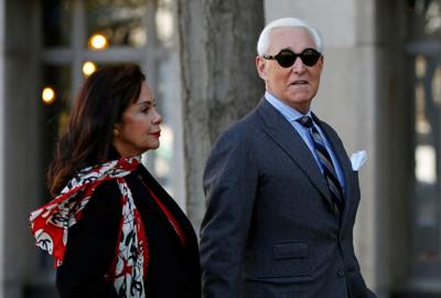 Roger Stone, former campaign adviser to U.S. President Donald Trump, arrives with his wife Nydia for the continuation of his criminal trial on charges of lying to Congress, obstructing justice and witness tampering at U.S. District Court