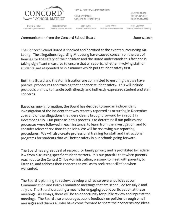 June 12 letter to Concord parents