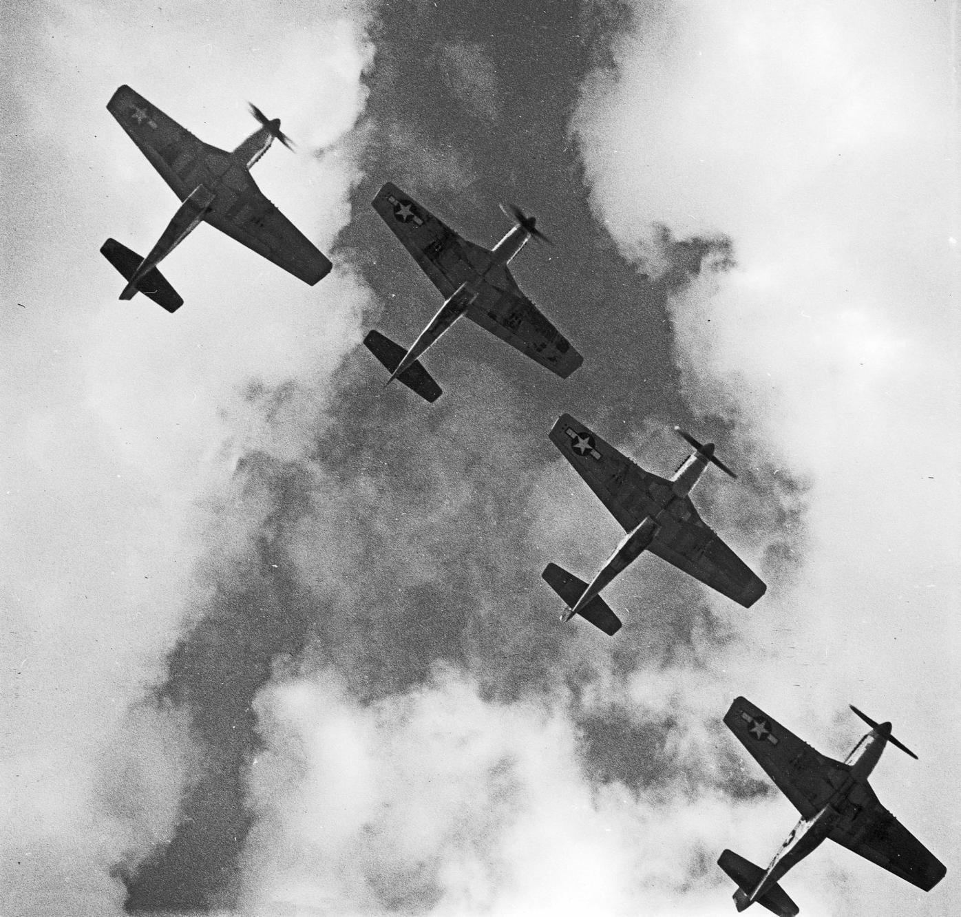 A formation of P-51 Mustangs flying over Italy in 1945