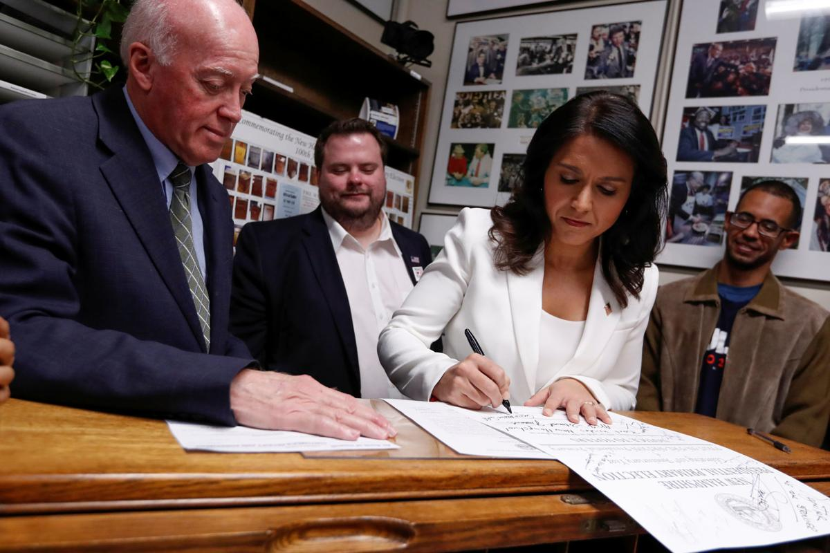U.S. Democratic Presidential candidate Tulsi Gabbard files declaration of candidacy papers to appear on 2020 New Hampshire primary election ballot in Concord