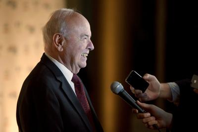 Tim Conway talks to reporters as he arrives at the 2013 Mark Twain Prize for American Humor