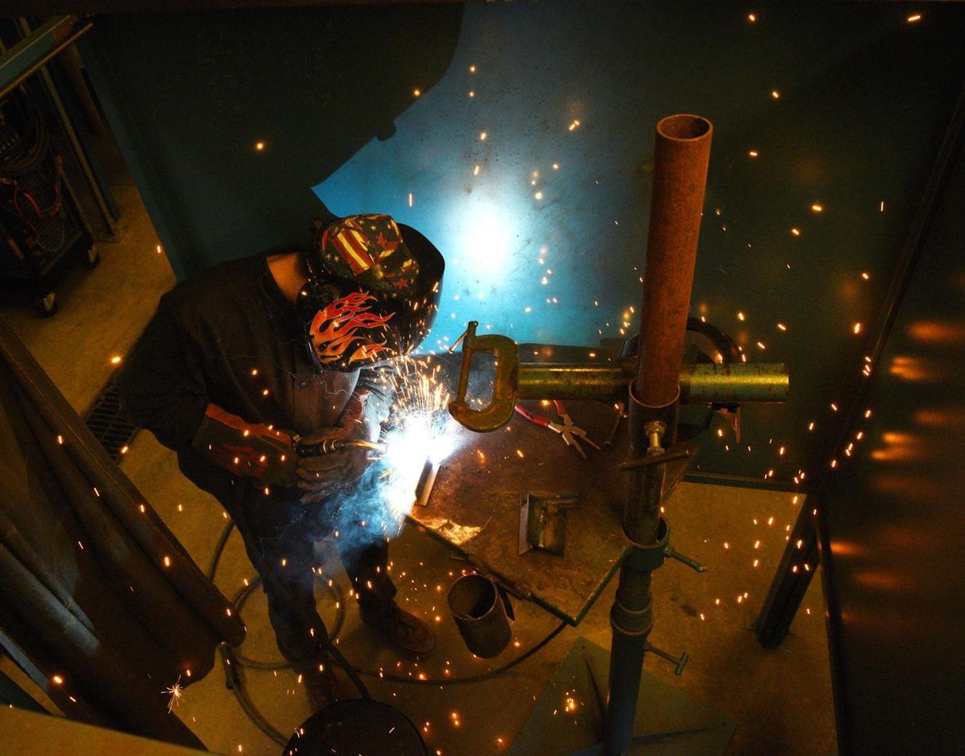John Shortill at welding competition
