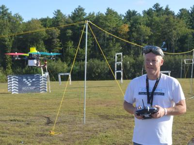 Michael Gosselin of Strafford tests out his racing drone