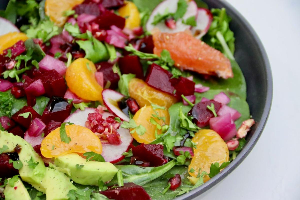 Winter Vegetable and Citrus Salad with Spinach