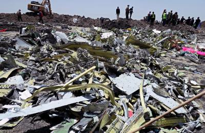 Wreckage is seen at the site of the Ethiopian Airlines Flight ET 302 plane crash