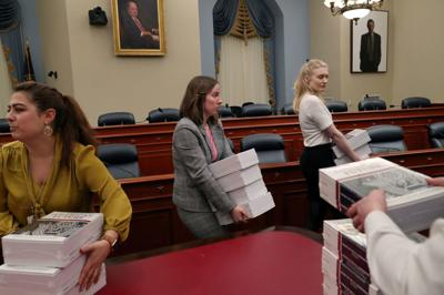 Copies of U.S. President Donald Trump's FY2021 budget proposal on display in Capitol Hill in Washington, U.S.