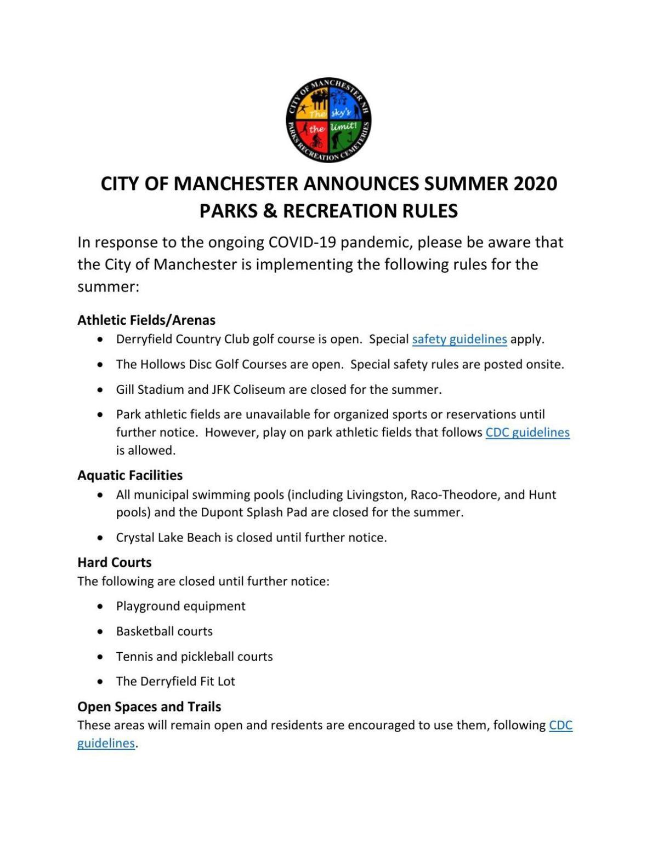 City parks announcement