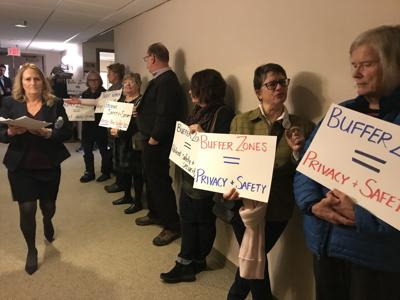 Buffer zone supporters picket at State House