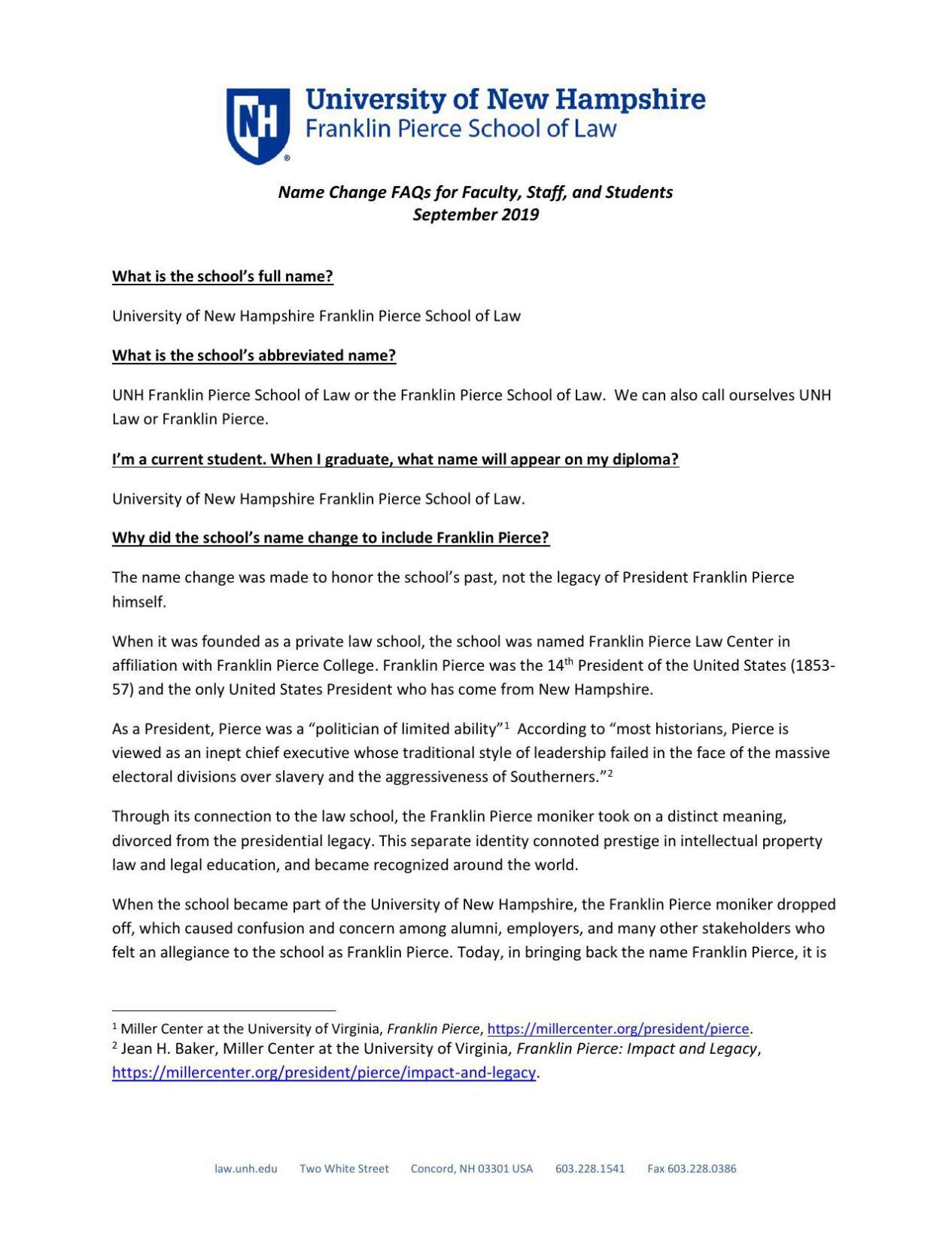 Franklin Pierce rebrand FAQs
