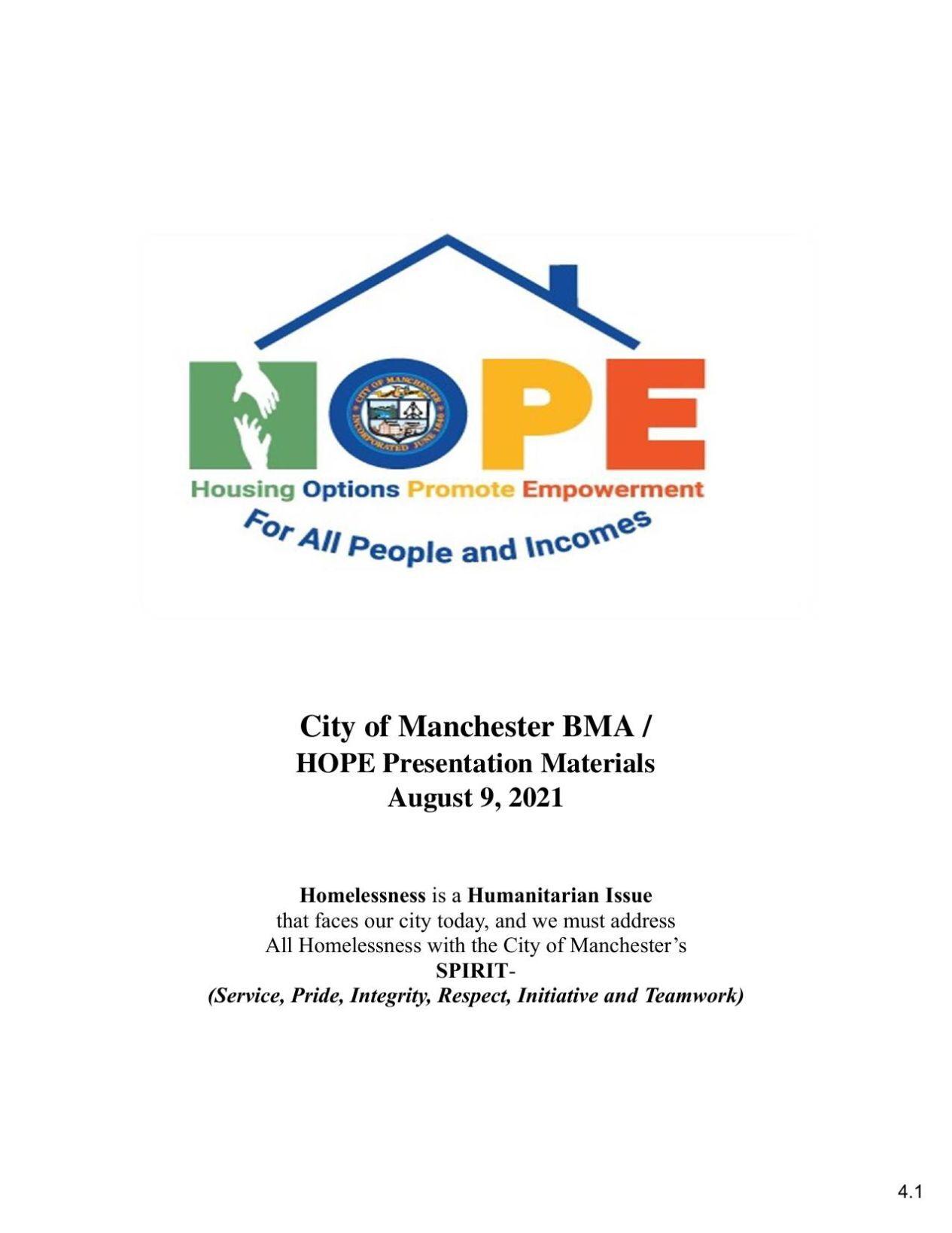 HOPE homeless plan
