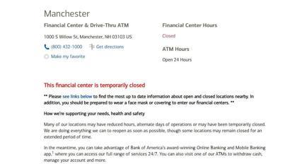 Bank of America temporary closure