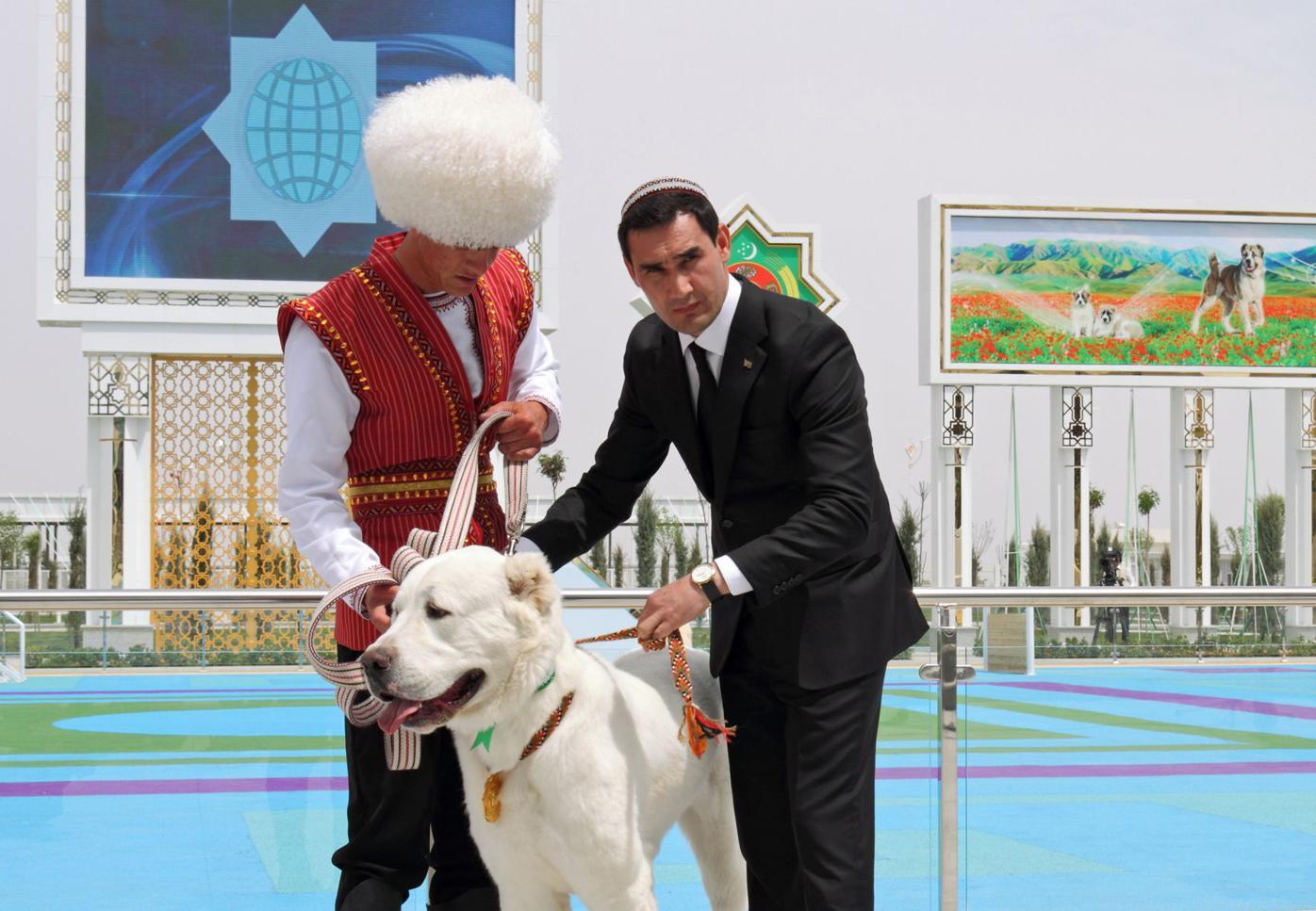 Turkmenistan's Deputy Prime Minister Serdar Berdymukhamedov takes part in celebrations for the national Turkmen Horse Day and the Turkmen Shepherd Dog Day, near Ashgabat