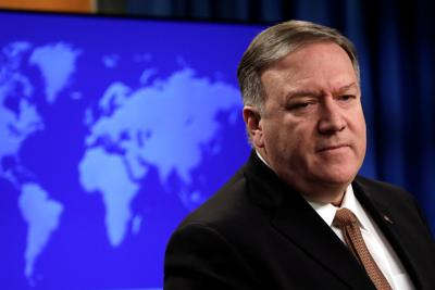 Secretary of State Mike Pompeo looks on during a briefing on Iran in Washington