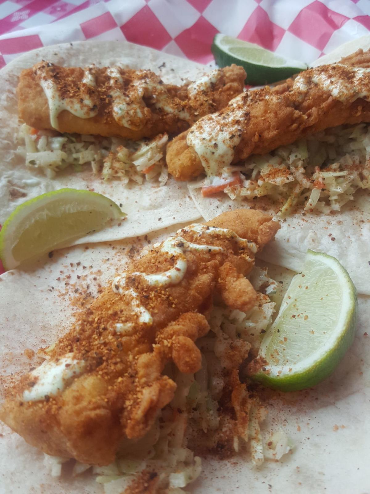 Vertical fish tacos at Newick's