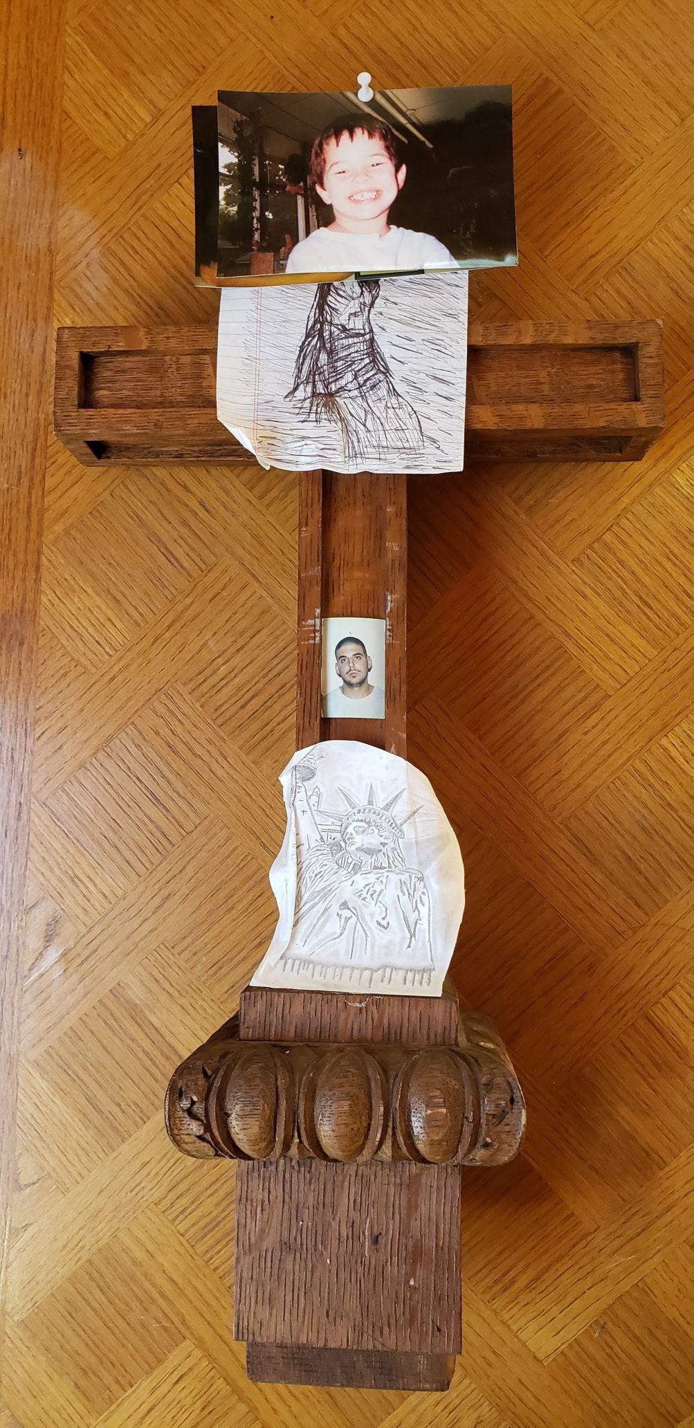 Wooden cross left behind