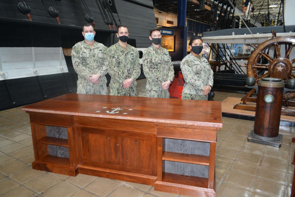 USS Constitution desk builders with desk