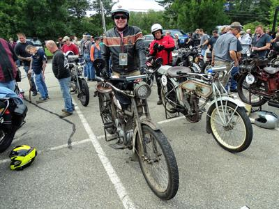 Motorcyclists competing in cross-country endurance run on pre-1929 bikes