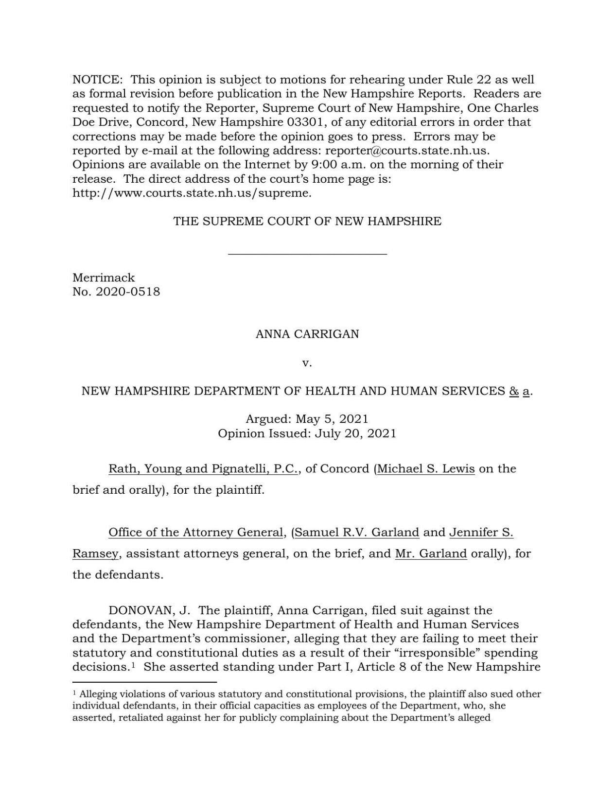 Carrigan decision