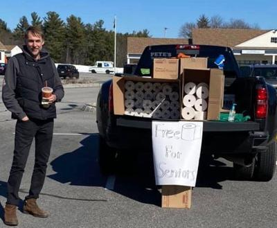 Toilet rental owner gives away load of toilet paper rolls to seniors