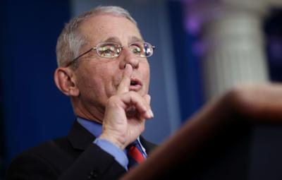 Dr. Anthony Fauci addresses daily coronavirus briefing at the White House in Washington