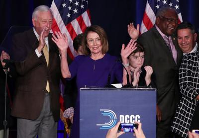 U.S. House Minority Leader Nancy Pelosi celebrates Democrats winning House majority in Washington