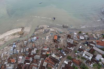 An aerial view of an affected area after a tsunami hit Sunda strait at Sumur village in Pandeglang