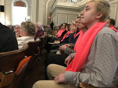 Pink scarves show support for developmentally disabled