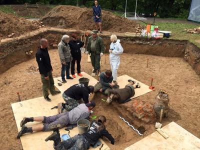 Archaeologists take part in excavation works in Smolensk