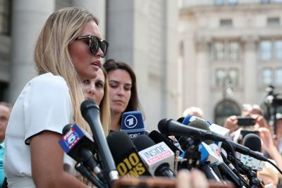 Araoz, an alleged victim of Epstein, speaks to the media after a hearing in New York