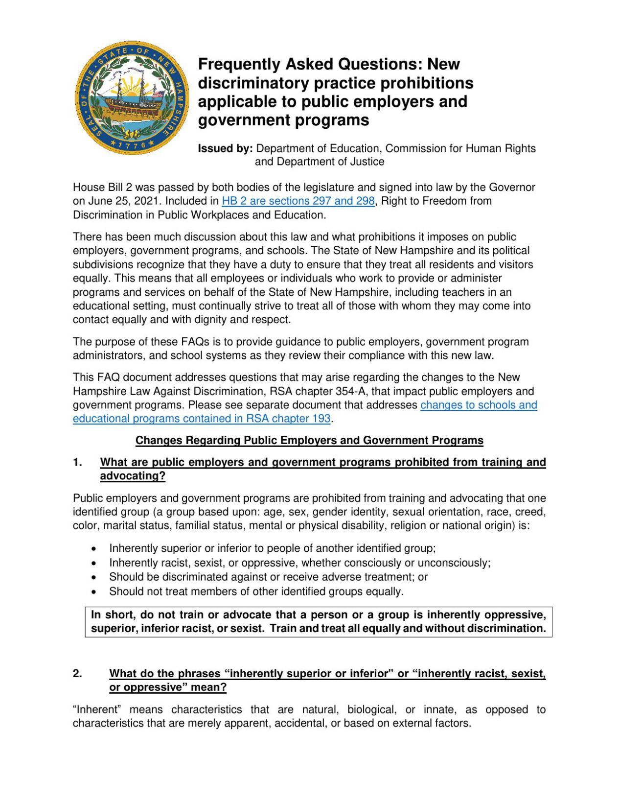 Guidance for public employers and government programs