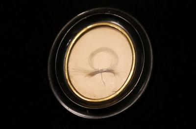 A lock of German composer Ludwig van Beethoven's hair is seen on display ahead of a Sotheby's auction, in London
