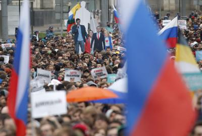 People attend a Moscow rally