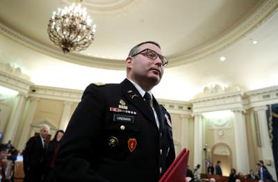 FILE PHOTO: Lt Colonel Vindman testifies at House Intelligence Committee hearing on Trump impeachment inquiry on Capitol Hill in Washington
