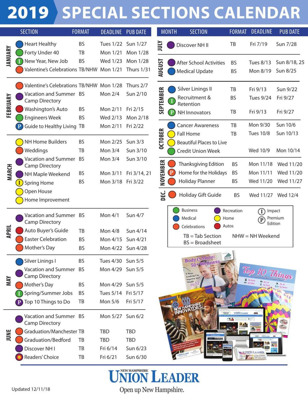 Calendar Celebrations 2019 2019 Special Sections Calendar | | unionleader.com